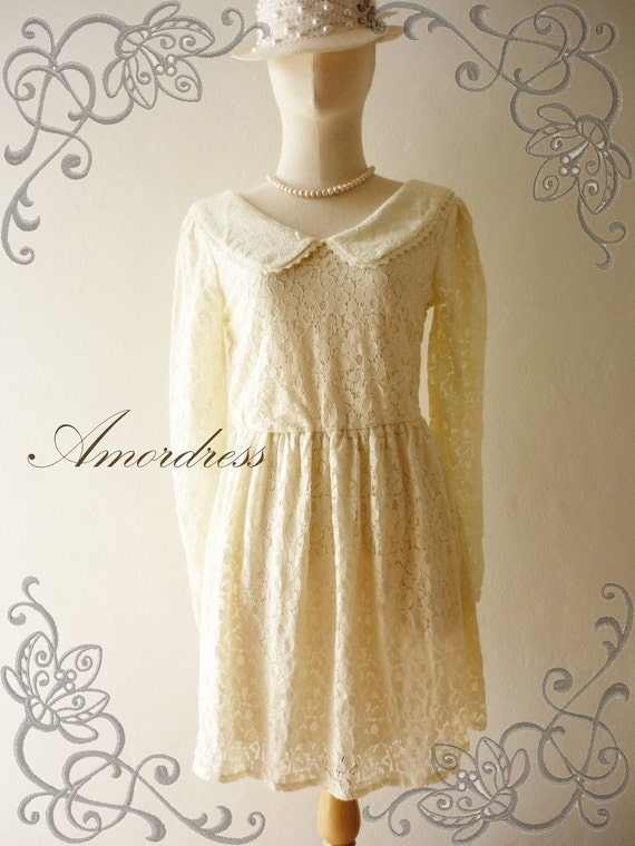 Amor Vintage Inspired- Vintage Lady- Sweet Vintage Feminine Style Long Sleeve Cream Flower Filigree Mini Lace Dress or Tunic-Fit S-