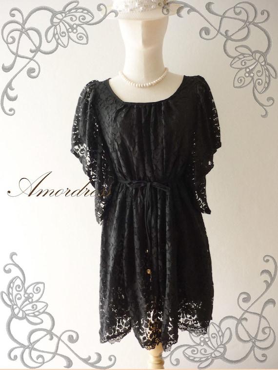 Amor Vintage Inspired- I'm So Beautiful- Sweet Vintage Feminine Style Butterfly Ruffle Sleeve Black Flower Filigree Lace Dress -Size L-