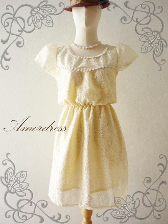 NEW TODAY - Amor Vintage Inspired- In the Princess Closet - Whimsical  Yellow Butter Cream Lace Dress -XS-S-