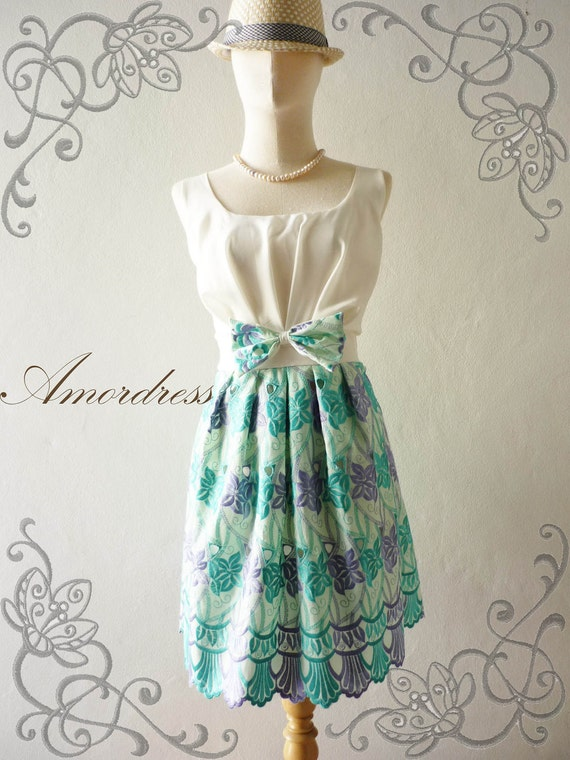SALE--Amor Vintage Inspired- The Sweetest Thing- Vintage Classic Blue , Green and Purple Shade Cotton Lace Dress for Any Occasion-Fit XS-S-