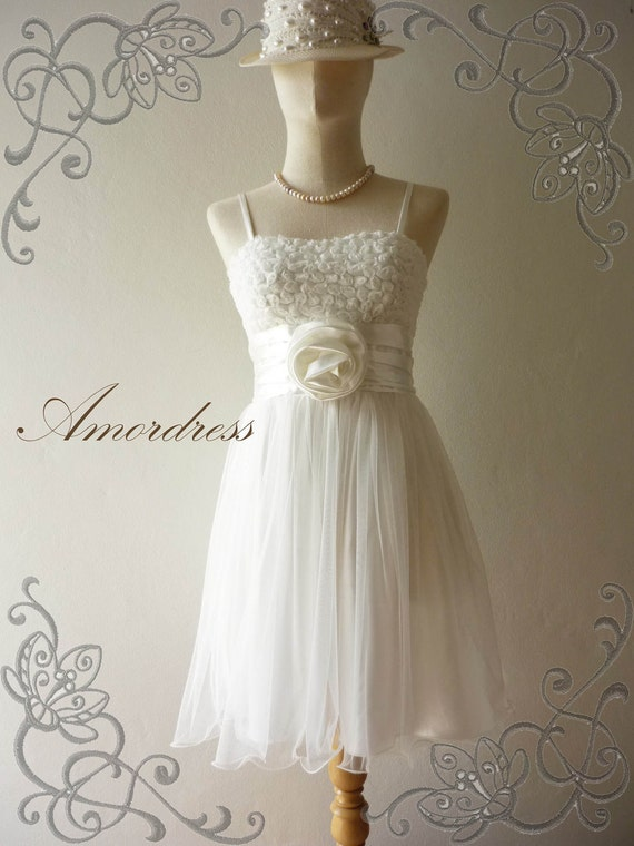 FREE SHIPPING- Amor Vintage Inspired White Tutu Wedding Prom Party Dress  -XS and S-