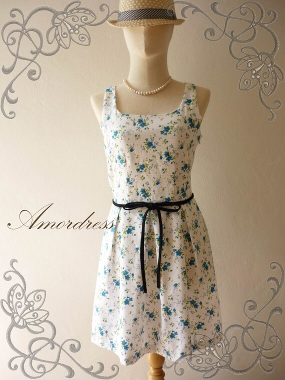 HOT SALE Amor Vintage Inspired- Envy Me- Blue Floral -Retro SweetCotton Dress -Fit XS-S -