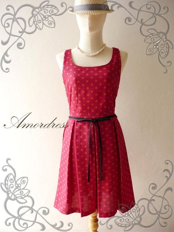 Amor Vintage Inspired Polka Dot Dark Scarlet Red and Tangerine Dot Sleeveless Dress -Fit XS-S -