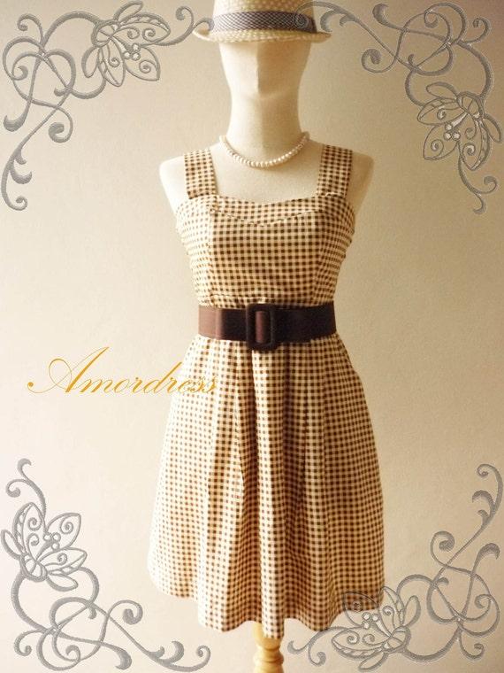 HOT SALE--Amor Vintage Inspired- - Love Song- -Brown Scotte Vintage-Retro Dress -Fit Size M-