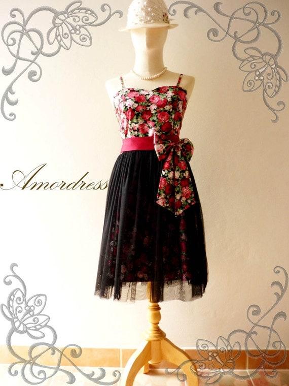 Amor Vintage Inspired Black Tutu Red Floral Dress for Wedding Prom -Princess Romance-- Fit XS-S-