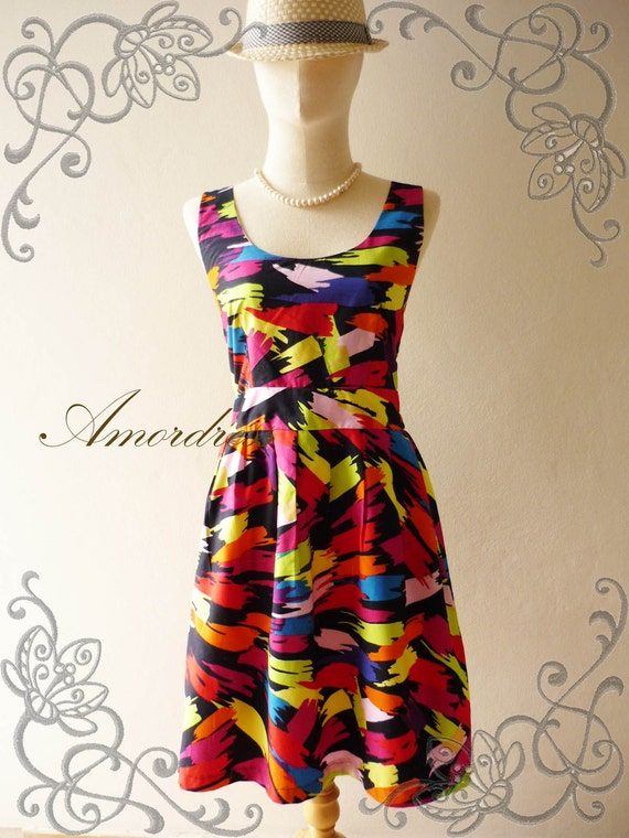 Retro Dress Amor Vintage Inspired- Chilling Princess- Great Paint Colorful Cotton Dress for Any Occasion-Fit S-M-