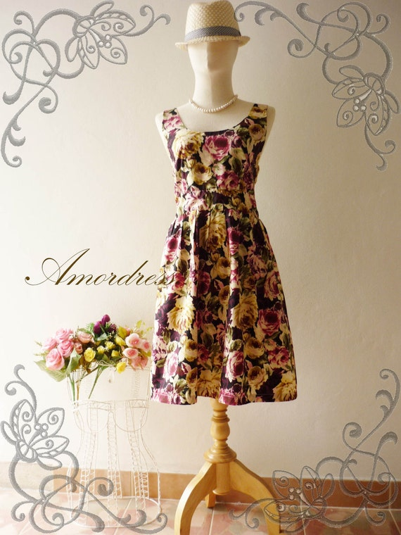 HOT SALE Amor Vintage Inspired- Chilling Princess- Purple Floral Shade Cotton Dress for Any Occasion-Fit S-M-