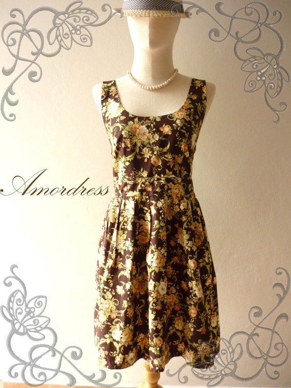 SPECIAL SALE ALL--Amor Vintage Inspired- Chilling Princess- Brown and Floral Cotton Dress for Any Occasion-Fit S-M-