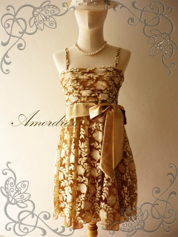 HOT SALE--Amor Dress Vintage Bohemian- - Silver Glitter on Brown-Gold Bohemian Lace Dress -Fit XS-S-