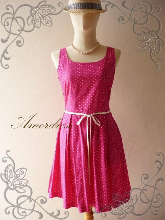 HOT SALE  Amor Vintage Inspired Pink Petite Polka Dot Sleeveless Dress -Envy Me- Size XS-S -