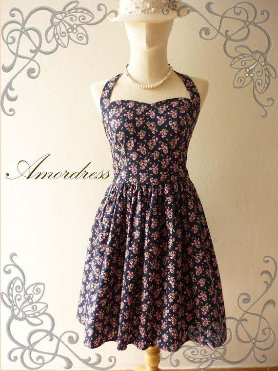 Amor Vintage 50's Inspired Romantic Pink Vintage Petite Floral Navy Blue Dress Neck Tie Style - Once Upon A Time-  Size S-