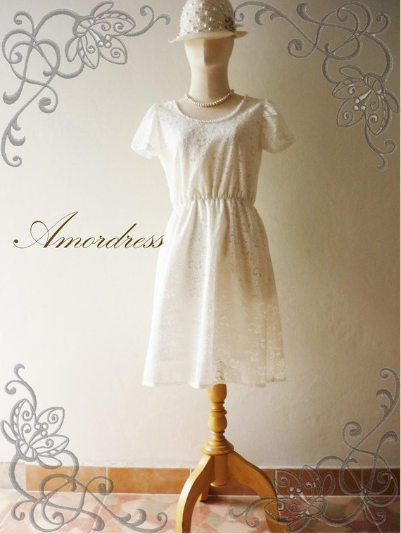 HOT SALE-  Amor Vintage Inspired Vintage Dolly Sleeve  Whimsical White Lace Dress -  Im Just Romantic- Fit S-M