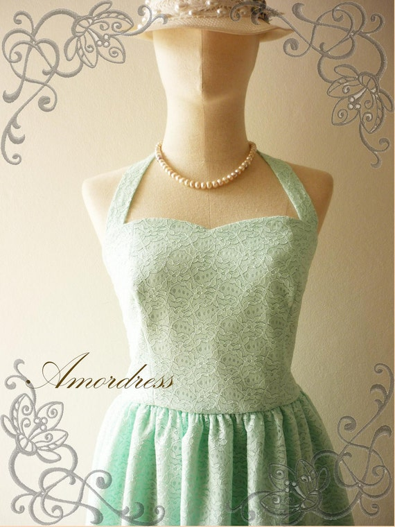 LIMITED Amor Vintage Inspired Gorgeous Neck Tie Mint Green Lace Dress Wedding Prom Party Dress for Any Occasion - Once Upon A Time-  Size S-