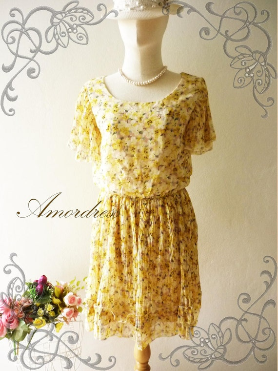 Amor Vintage Inspired  Lively Yellow Floral Sweet Chiffon Dress -Fit Size S-M- SALE