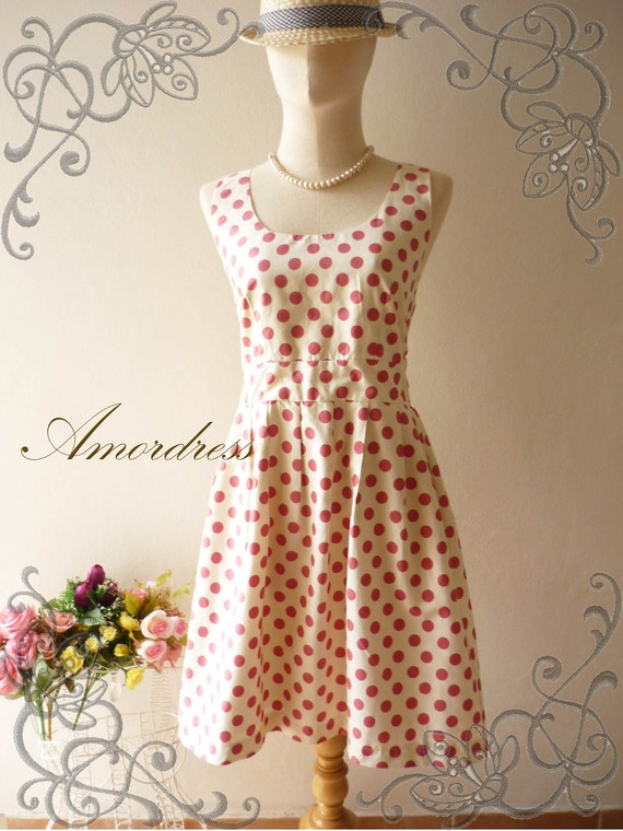 SALE .. Amor Vintage Inspired- Chilling Princess- Pretty Cream Pastel Red Dot Cotton Dress for Any Occasion-Fit S-M-