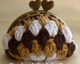 Instant Download Crochet Pattern (pdf file) - CAPUCCINO crocheted coin purse
