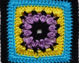 Instant Download Crochet PDF pattern - LD-0109 Floral afghan block
