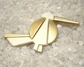 Vintage Plastic bird Brooch pin graphic geometric gold