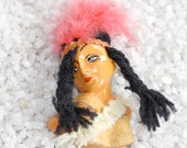 Vintage Indian / native american girl Brooch with feather