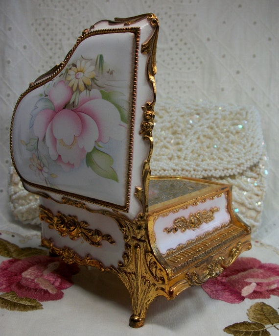 Baby grand piano music box trinket box with beautiful floral design vintage japan