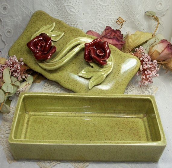 California pottery trinket box with lid and rose sculpture green and red