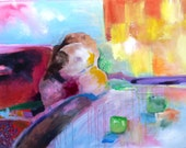 """Abstract Painting on Large Canvas, Contemporary, Modern Art, """"Morning Tea"""""""