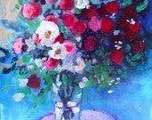 """Reserved for Brigitta Abstract Art  Acrylic Floral Painting on Canvas """"Red Roses in a Blue Room"""""""