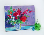 "Abstract Floral Still Life Modern Art on Canvas ""Summer Blooms"""