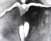 Figure Painting Dance Ballet in Black and White Original Artwork