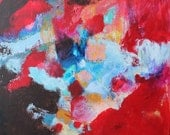 """Abstract Art Acrylic Red Painting on Canvas Original Contemporary """"Fire Flow"""""""