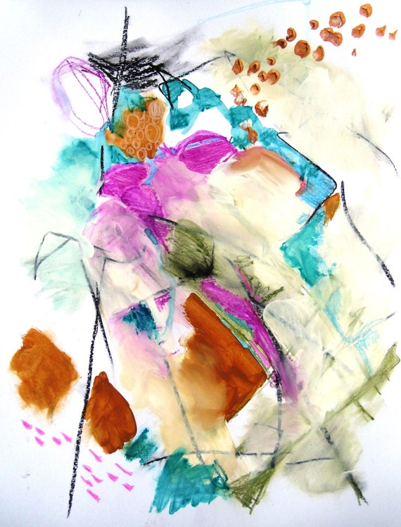 """Abstract Expressionist Painting, Modern Art, Intuitive Mixed Media Original  """"Miserere Nostri"""""""
