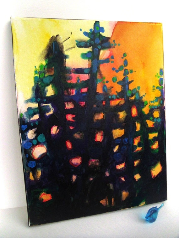 "Acrylic Abstract Landscape, Original Painting on canvas,""Tricks Trees Do With Sunlight"""