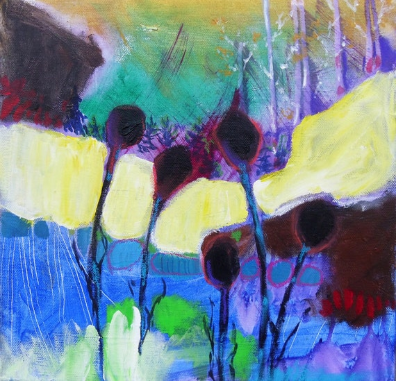 """Abstract Landscape, Blue, Red, Original Painting on Canvas """"Fall Garden"""""""