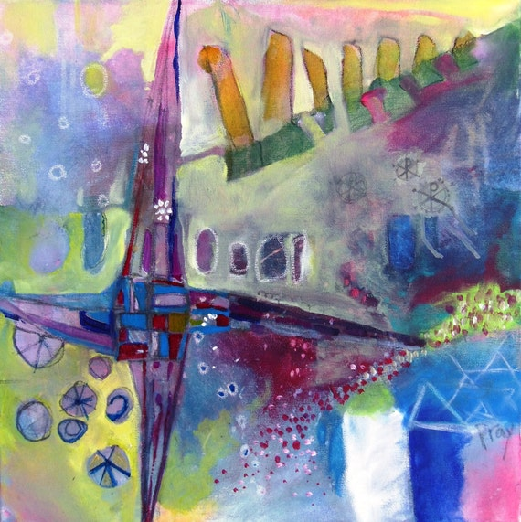 "Original Abstract Painting, Modern Inspirational Art on Canvas, ""St. Brigid's Cross"""