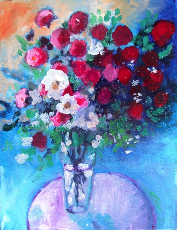 "Reserved for Brigitta Abstract Art  Acrylic Floral Painting on Canvas ""Red Roses in a Blue Room"""