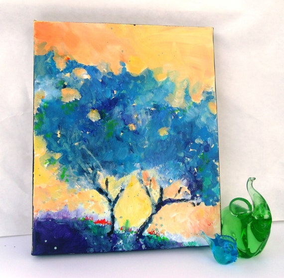 Abstract Tree Original Acrylic Painting on Small Canvas Blue Trees Under an Orange Sky
