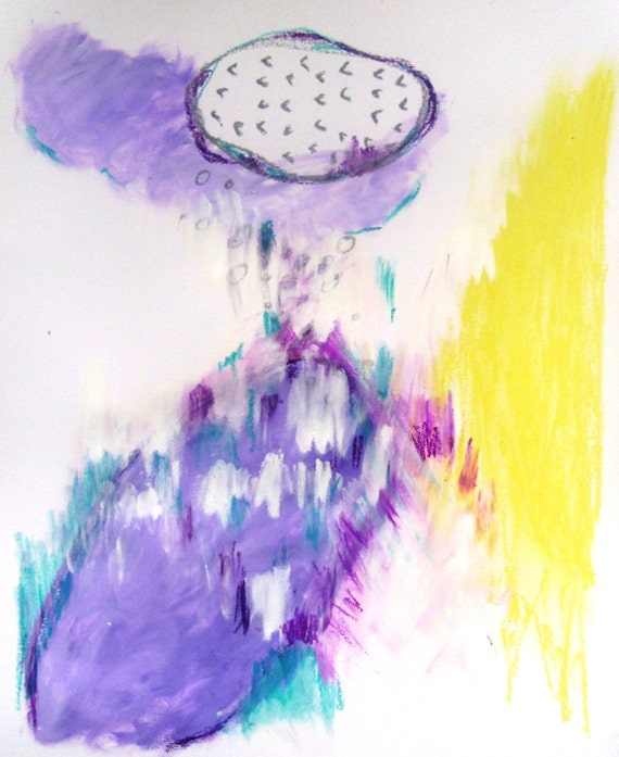 """Expressionist Modern Painting on Paper, Purple Yellow Abstract Art """"The Grand Scheme"""""""