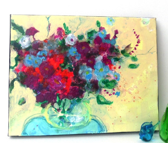 """Reserved for Claire Bouquet Painting on Canvas Original Abstract Floral Modern """"Bouquet on a Blue Table"""""""