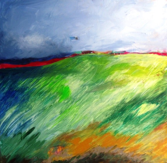 """Original Abstract Landscape Painting on Canvas Modern Contemporary Art """"Windswept"""""""