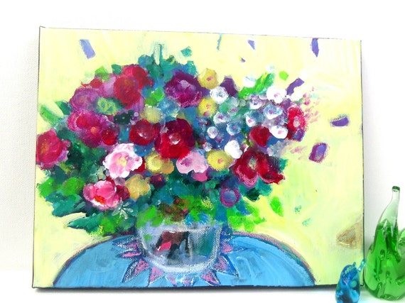 """Reserved for Brigitta Abstract Floral Painting on Small Canvas Original Modern Art """"Summer Blooms in a Yellow Room"""""""