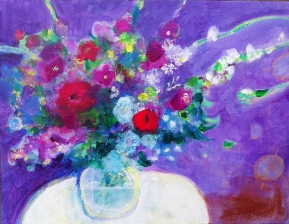 "Reserved for Brigitta Floral Abstract Still Life on Canvas Modern Art ""Summer Flowers in Purple"""