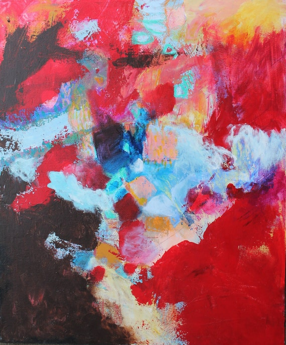 "Abstract Art Acrylic Red Painting on Canvas Original Contemporary ""Fire Flow"""
