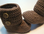 Crochet baby booties.  Ankle boots.  6 to 12 month, 12 month, 18 month, 24 month.  Made to order.  Medium Brown.