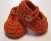 Crochet baby booties.  Mary Jane.  6 to 12 month.  Ready to ship.  Carrot.  Orange.