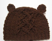 Crochet baby hat with ears. 6 to 12 months.  Made to order.  Baby bear hat.  Gender neutral, unisex.