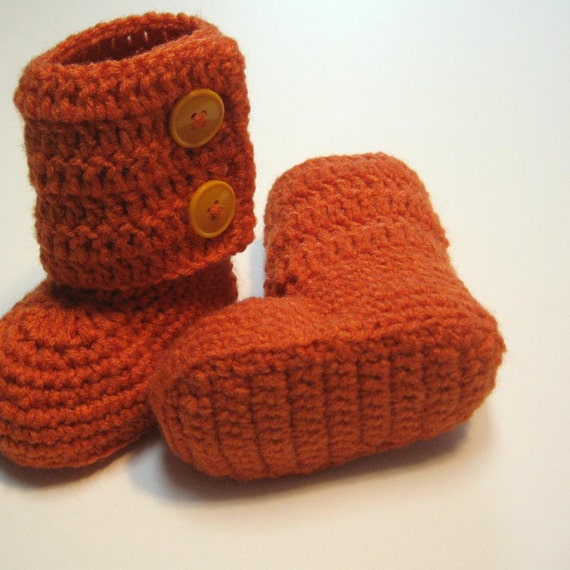 Crochet toddler ankle boots.  Ugg inspired.  Ready to ship.  12 months.  Orange.