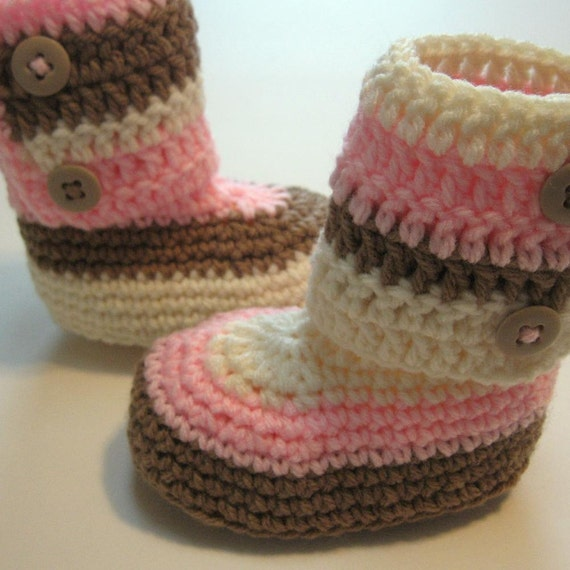 Crochet ankle boots.  Toddler ankle boots.  Ready to ship.  Size 12 months.
