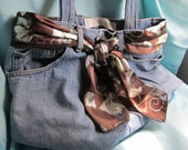 Recycled jean bag with scarf belt and camo lining