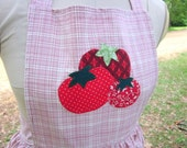 Pink plaid retro apron with tomato applique