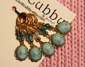 Elegance in Blue (listing for FIVE stitch markers) NON SNAG Cameo Stitch Markers